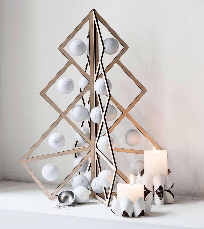 Advent calendar - reusable wooden tree/white metal ball decorations