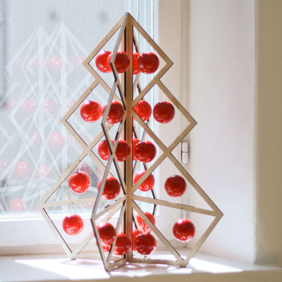 Advent calendar - reusable wooden tree/red metal ball decorations