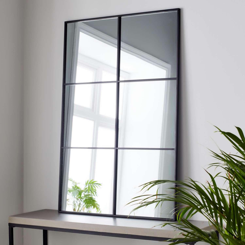 Black metal rectangular windowpane mirror