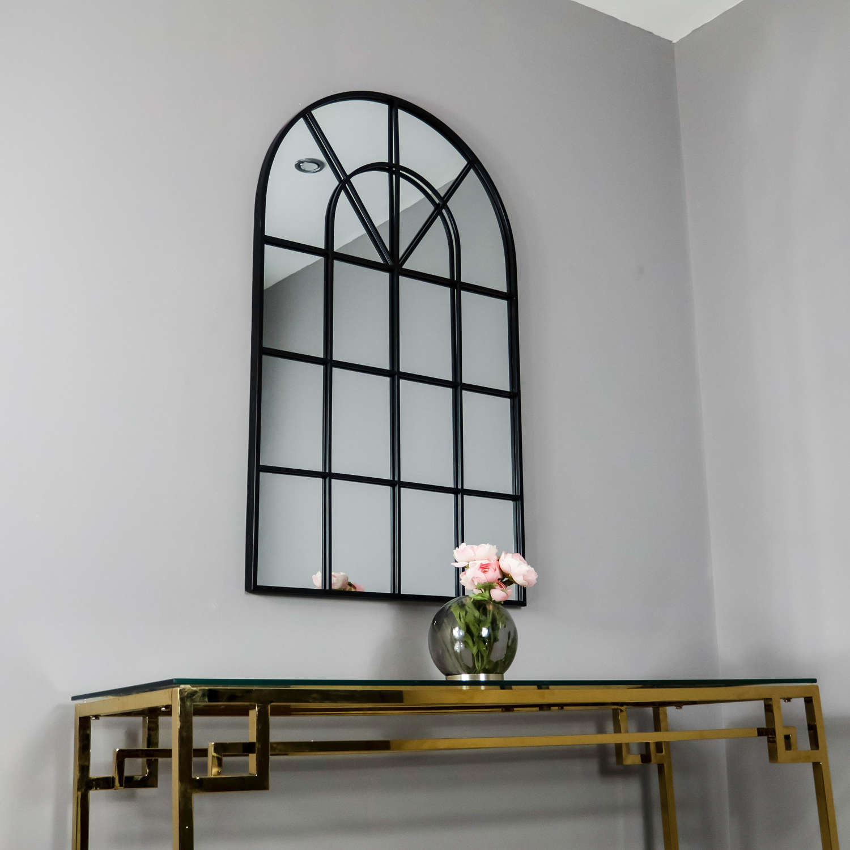 Black metal arched windowpane mirror
