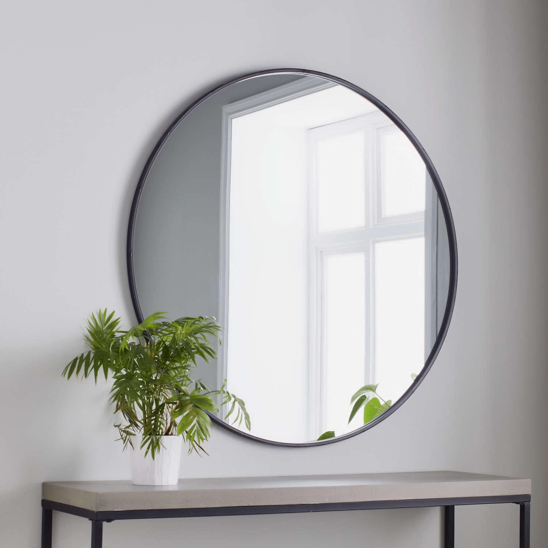 Black round metal framed mirror - 80cm