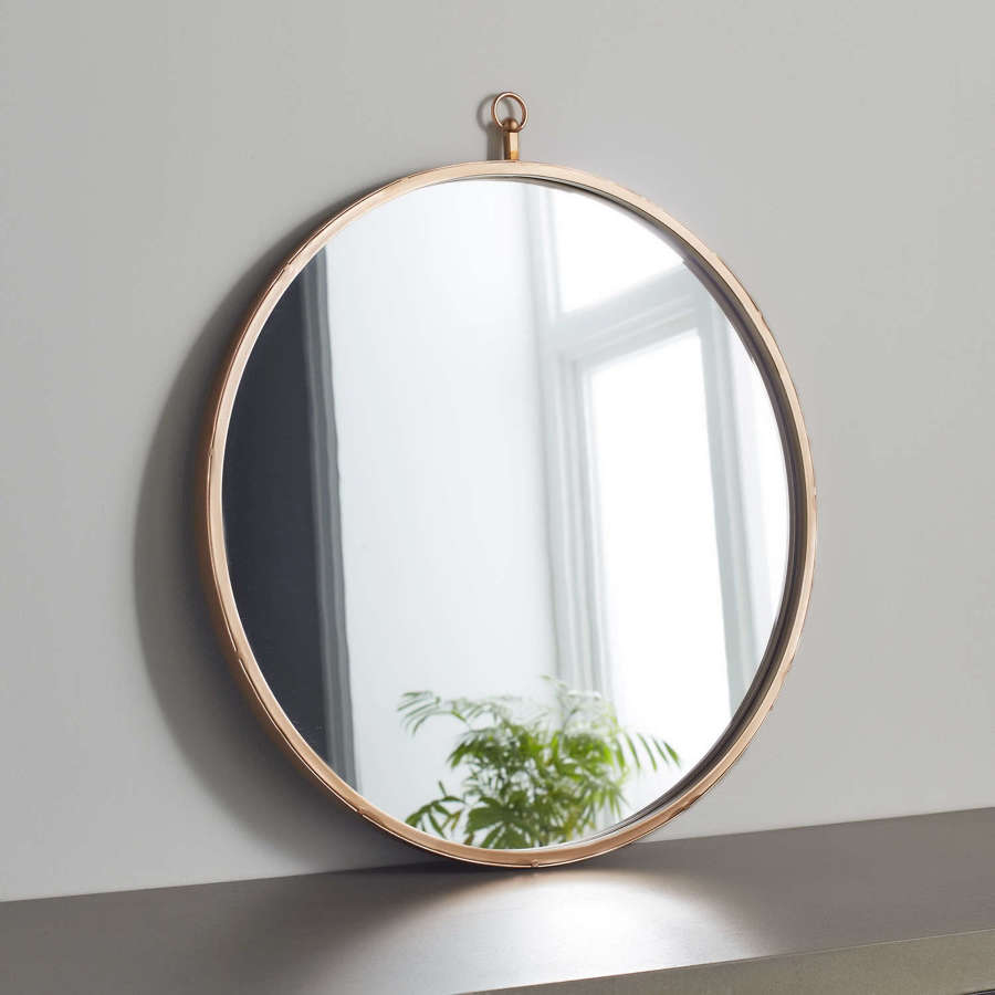 Round pink copper metal mirror