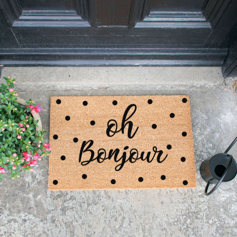 Oh bonjour design standard size doormat