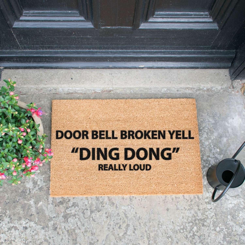 Door bell broken design standard size doormat