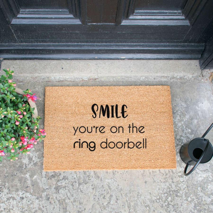 Smile you're on the ring doorbell design standard size doormat