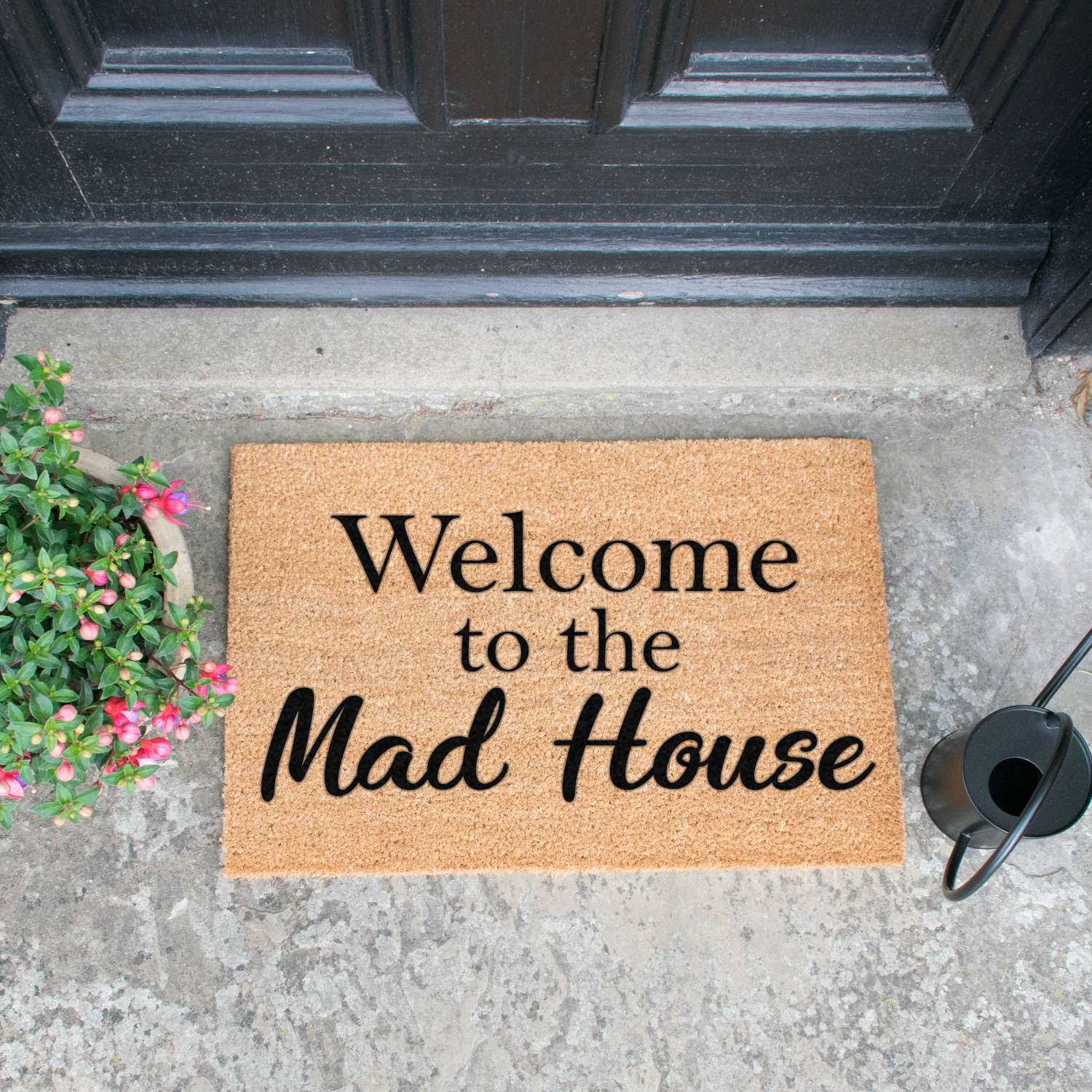 Welcome to the mad house design standard size doormat