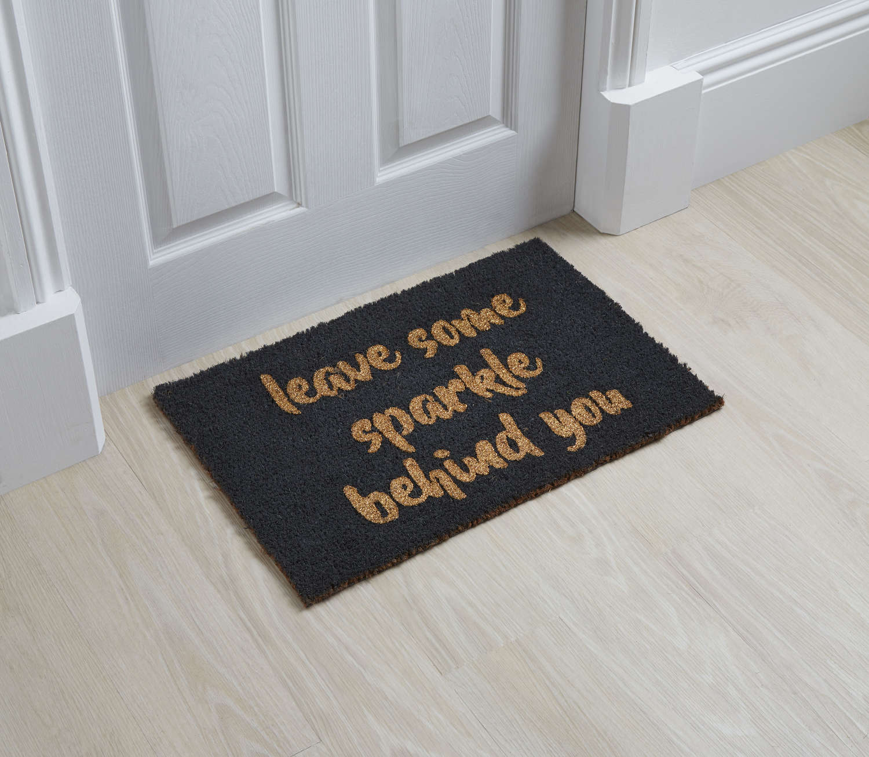 Leave some sparkle behind you design standard size doormat
