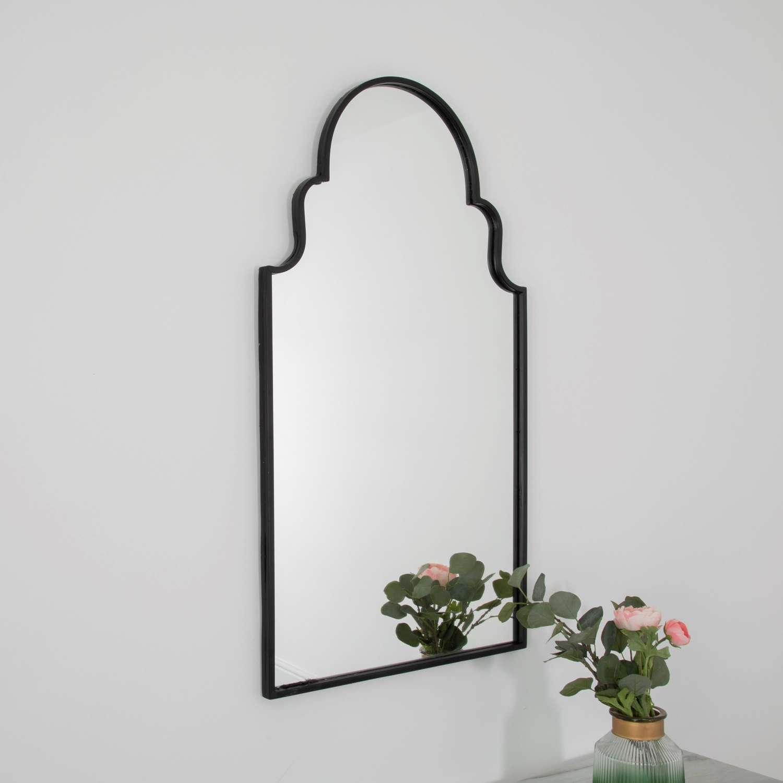 Roman window mirror - black