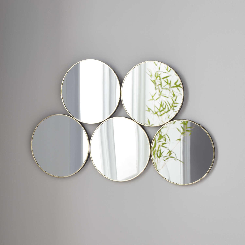 5 circles mirror - gold