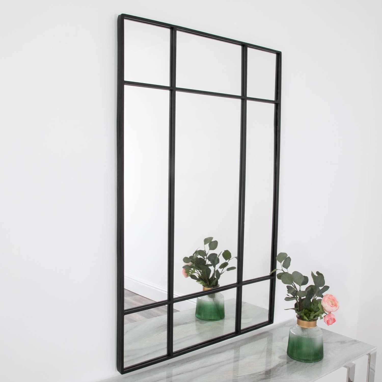 Black metal frame pane design mirror