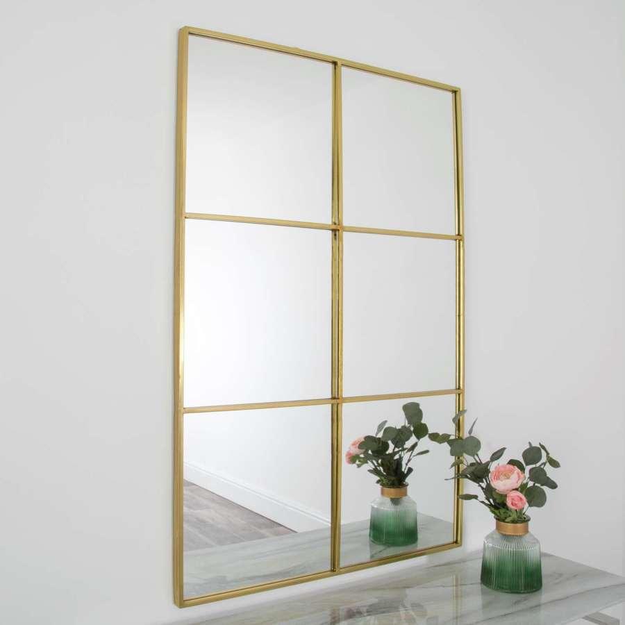 Gold metal rectangular windowpane mirror