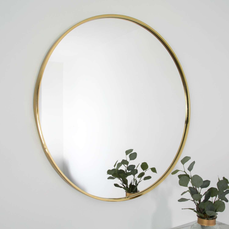 Gold round metal framed mirror - 80cm