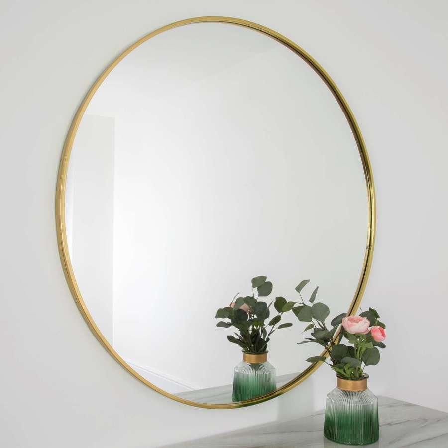Gold round metal framed mirror - 100cm