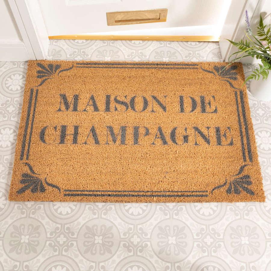 Grey Maison de Champagne design rural house larger size doormat