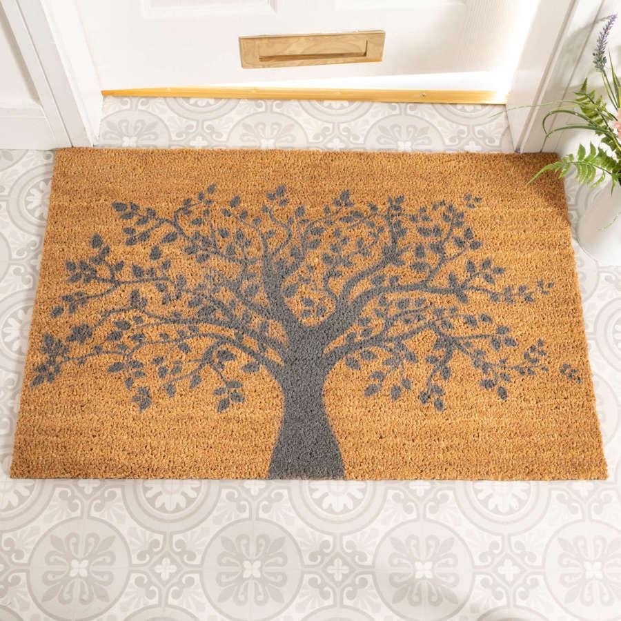 Grey Tree of Life design rural house larger size doormat