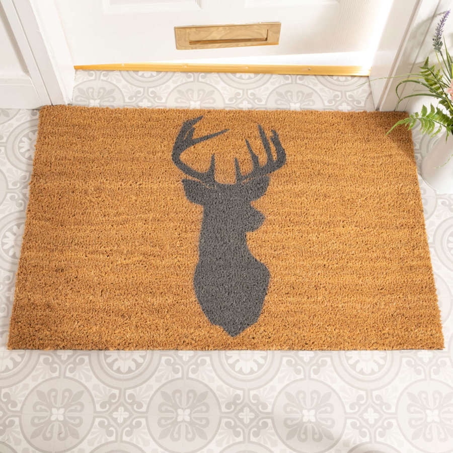 Grey stag design rural house larger size doormat