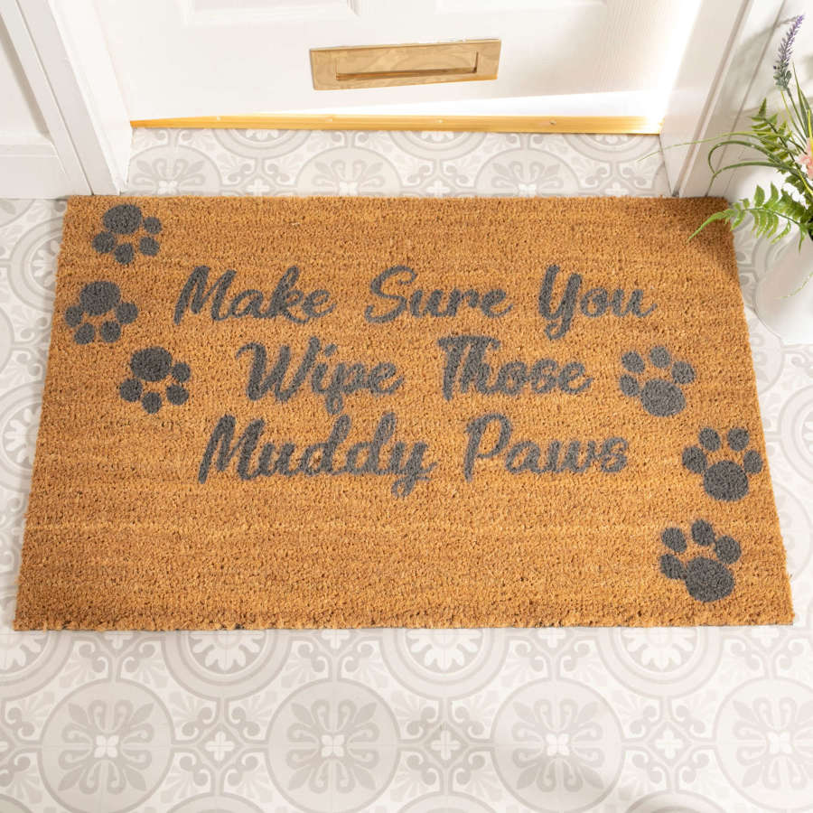 Grey make sure you wipe those muddy paws rural house larger doormat